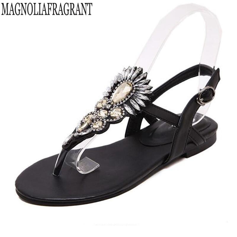 a6fc3b06e57414 2018 chaussures femme sandales femmes Strass Chaînes Plat Sandales flip  flops Plat sandales gladiateur sandales chaussure femme k707 dans Femmes de  Sandales ...