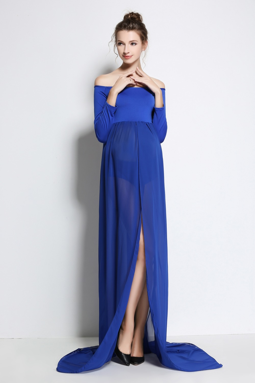 Blue Plus Size Pregnant Photography Props Pregnancy Maternity Dress  Maternity Photo Shoot Long Dress Baby Shower Fancy Dresses In Dresses From  Mother U0026 Kids ...