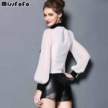 MissFoFo Brand 2019 Body Shirt Vintage Female One Piece Blouse Black White Solid Silk Lantern Ruffle Women\'s Formal Tops Suits