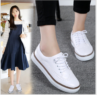Genuine Leather women shoes 2017 New carve patterns female students flat shoes joker small white shoe