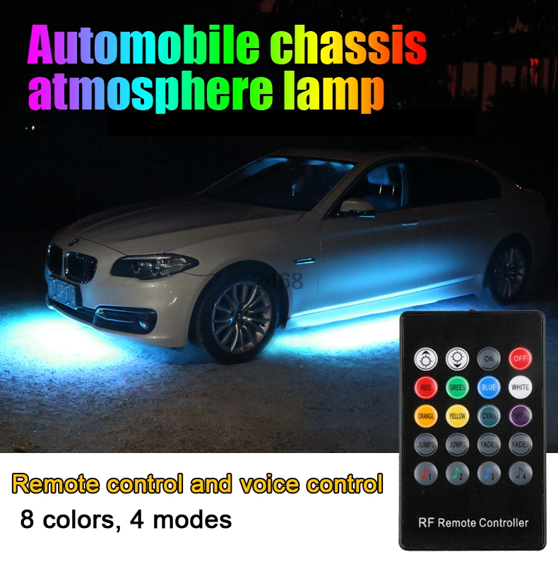 цена на 4pcs Car RGB LED Strip 5050 SMD Decorative Atmosphere Lamps Under Car Tube Underglow Underbody System Neon Light Kit With Remote