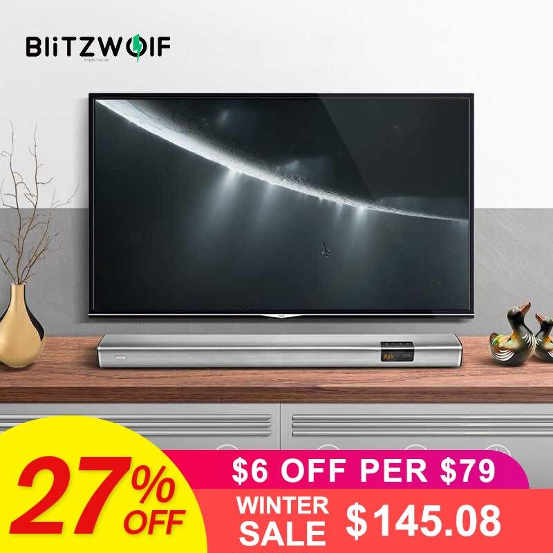 En Stock BlitzWolf 60 W Smart Barre De Son 2.1 Audio Canal et Subwoofer, 6 haut-parleurs et 2 Bas-Fréquence Radiateurs pour TV PC avec Coaxi