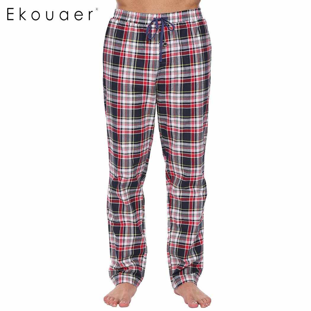 c3d0064a15 Ekouaer Mens 100% Cotton Casual Sleep Bottoms Elastic Waist with Drawstring  Plaid Pajama Sleepwear Pants