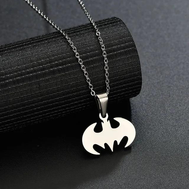 ELSEMODE Simple Cartoon Bat Wing Pendant Necklaces Men Stainless Steel Batman Super Hero Necklace Movie Charm Animal Jewelry