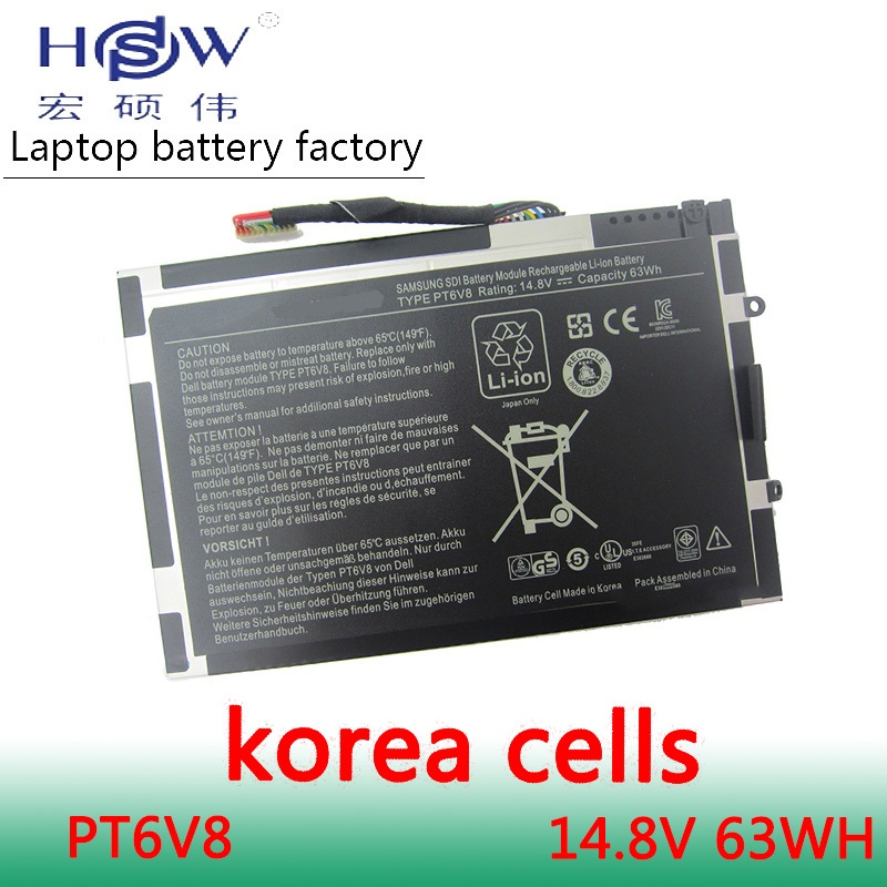 HSW battery 14.8V 63WH For Dell Alienware M11x R1 R2 R3 M14x R1 R2 R3 8P6X6 P06T PT6V8 T7YJR 08P6X6 KR-08P6X6 bateria men original leather fashion travel university college school book bag designer male backpack daypack student laptop bag 9950