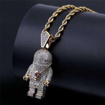Hip Hop biżuteria cyrkon astronauta Iced Out fajne męskie naszyjnik złoty łańcuch dla mężczyzn moda naszyjnik
