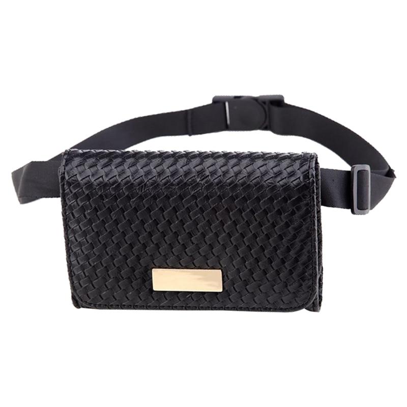 857ed89c968 2 Size Fashion Women Waist Belt Bag Waist Bag Small Weave Women Bag ...