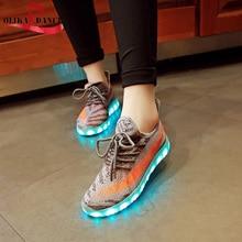 Дети Мальчики Девочки Мода Красочные Светодиодные Светящиеся Мигающий Световой USB Аккумуляторная Sneaker Slip On Shoes