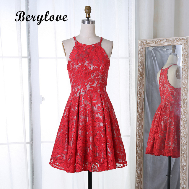 923d4f26108 BeryLove Red Lace Short Homecoming Dresses 2018 Mini Cocktail Party Dresses  Short Cocktail Dress Graduation Dress For Party