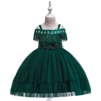 Green  Ballgown Sequins Flower Girl Dresses for Evening Party Tulle Tutu Gowns Birthday Dress