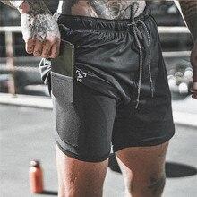 Nieuwe Collectie Zomer Dubbeldeks Heren Fitness Bodybuilding Ademend Sneldrogende Korte Sportscholen Mannen Casual Joggers Shorts