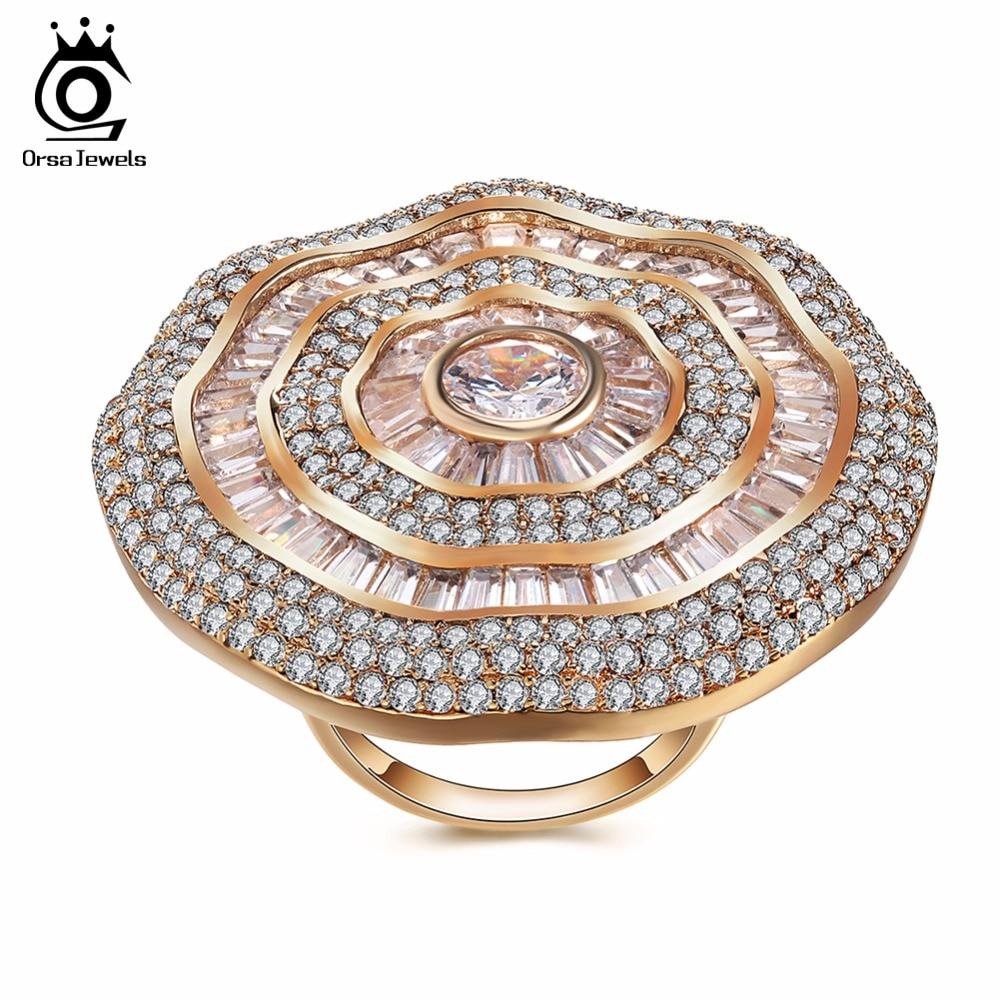 ORSA JEWELS Big Luxury Rings For Women AAA Cubic Zircon Gorgeous Design Full Size CZ Fashion Women's Ring Female Jewelry OMR04 недорго, оригинальная цена