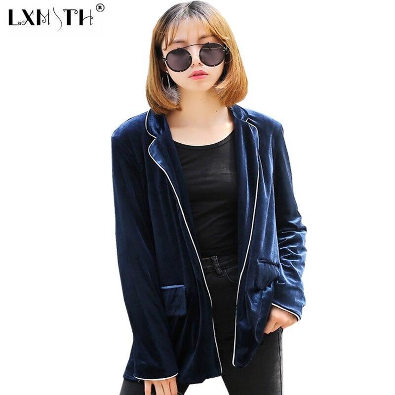2017 New Velvet Jacket Open Stitch Womens Jackets And Coats Pockets Loose Jacket Autumn Solid Long