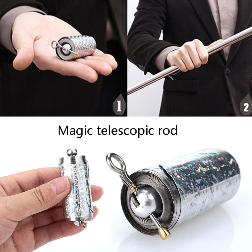 1pcs 150CM length Appearing Cane silver cudgel metal magic tricks for professional magician stage street close up illusion