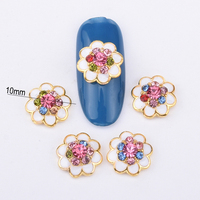 10pcs nails accessoires gold alloy 3d metal nail art decorations glitter crystal DIY nail sticker colorful rhinestones BL226