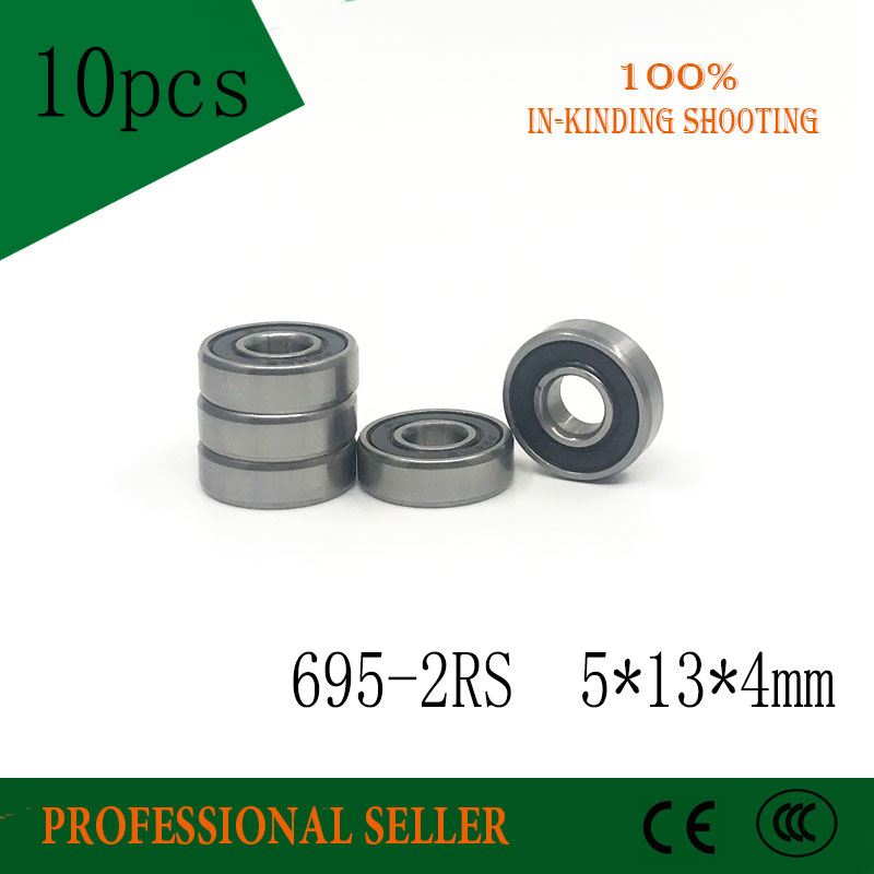 10pcs 695-2RS 5X13X4mm CGR15 Steel Rubber Sealed Miniature Ball Bearings 695RS  5*13*4 Mm