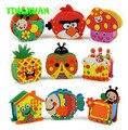 HAPPYXUAN 18 pcs/lot Handmade Eva Pen Holder Eva Foam Craft Kits Kids DIY Container for Pens Educational toys for Children