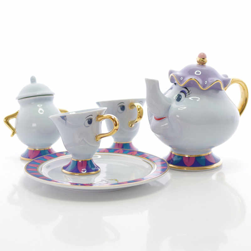 Promotion! Cartoon Beauty And The Beast Tea Set Mrs Potts Teapot Chip Cup Sugar Bowl Cogsworth Pot Set Coffee Birthday Xmas Gift