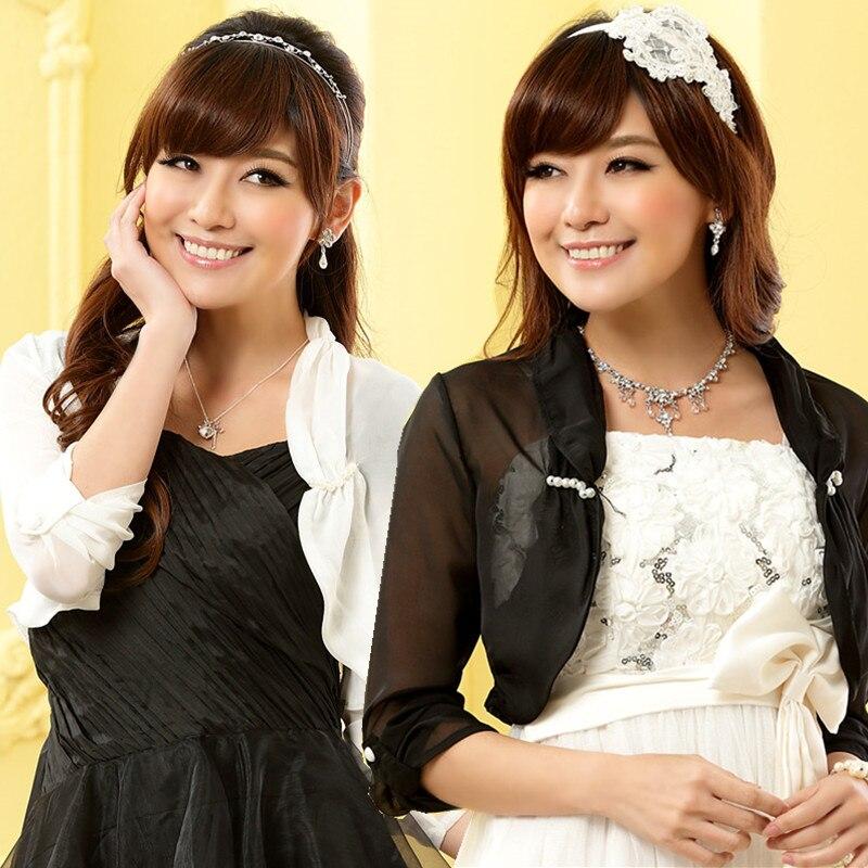 F 3xl Plus Size Elegant Wedding Bolero Shoulder Ruffles Shawls Bead Roll Long Sleeve Chiffon
