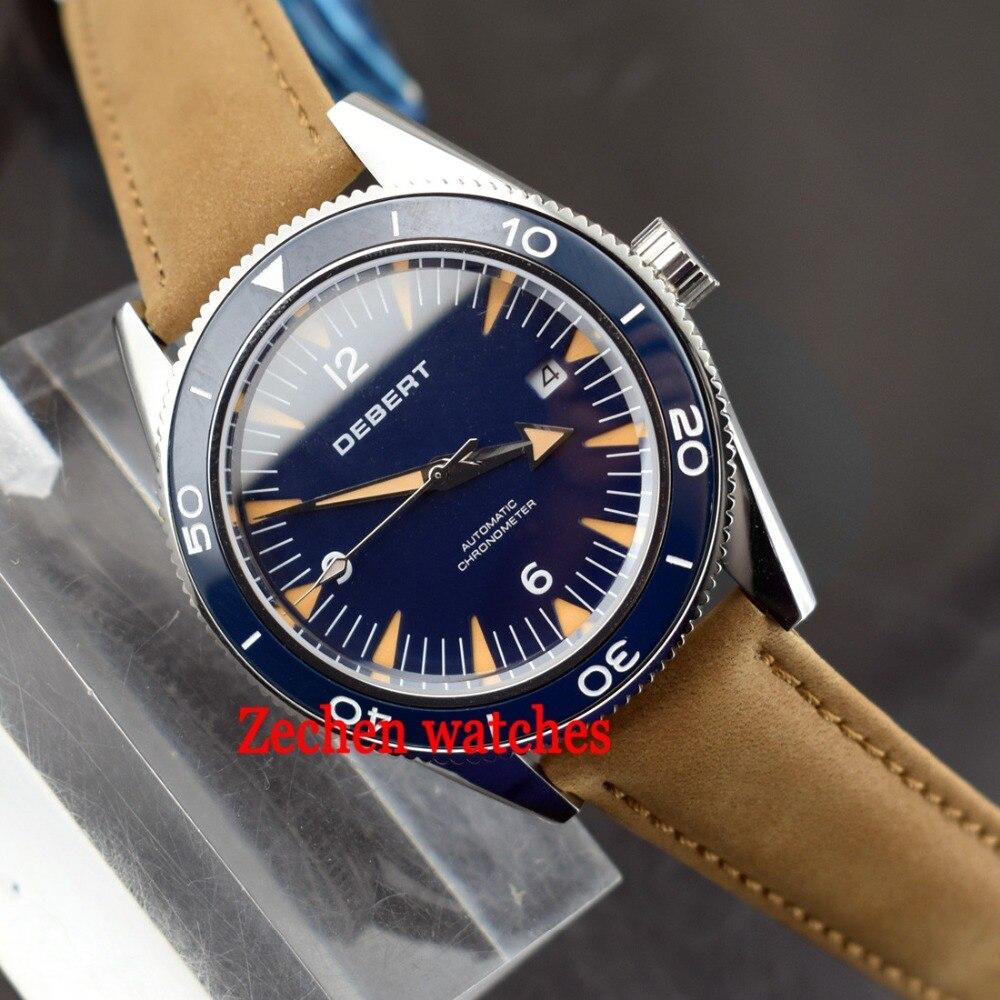 Debert 41mm 21 jewels Automatic MIYOTA 821A black dial mens watch Luminous hands deployment clasp sapphire glass watches