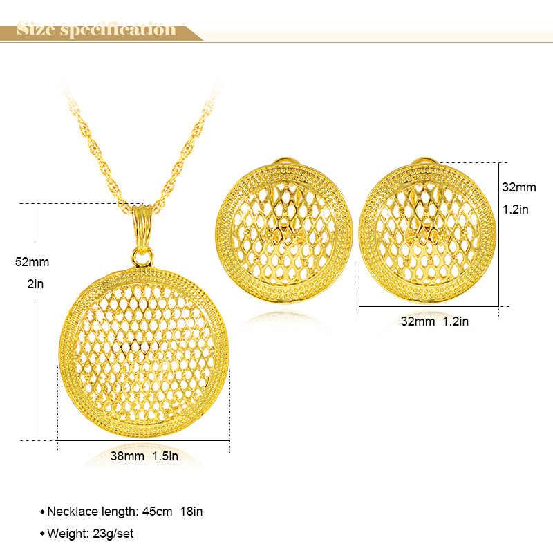 Bijoux ensoleillés bijoux classiques grands ensembles de bijoux ronds pour femmes collier boucles d'oreilles pendentif Dubai ensembles de bijoux pour la fête de fiançailles