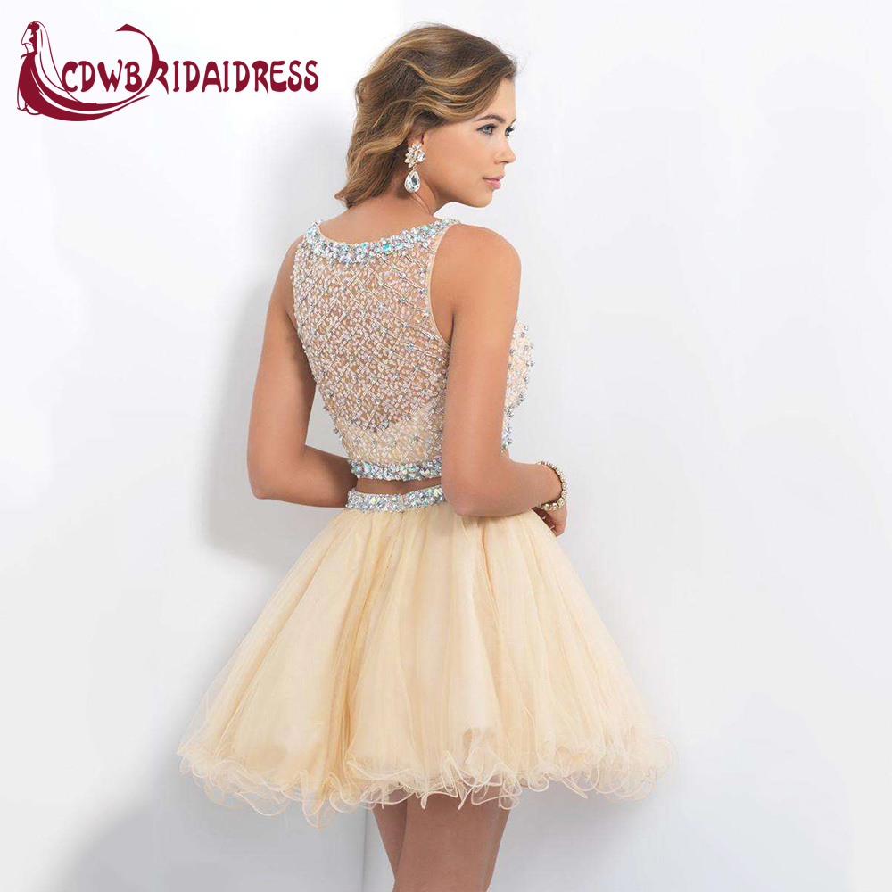 7003b41a38e7 Cute Two Piece Short Blush Homecoming Dresses With Beaded Tulle Ruched Mini  Semi Formal Party Gowns For 8th Grade Graduation-in Homecoming Dresses from  ...