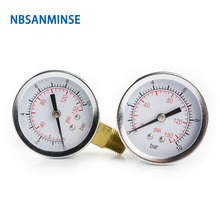 50mm Dial 1/4 G/NPT Mini Pressure Gauge Air Compressor Hydraulic Vacuum Gauge Manometer Pressure Tester 0-150Psi 0-10Bar Sanmin