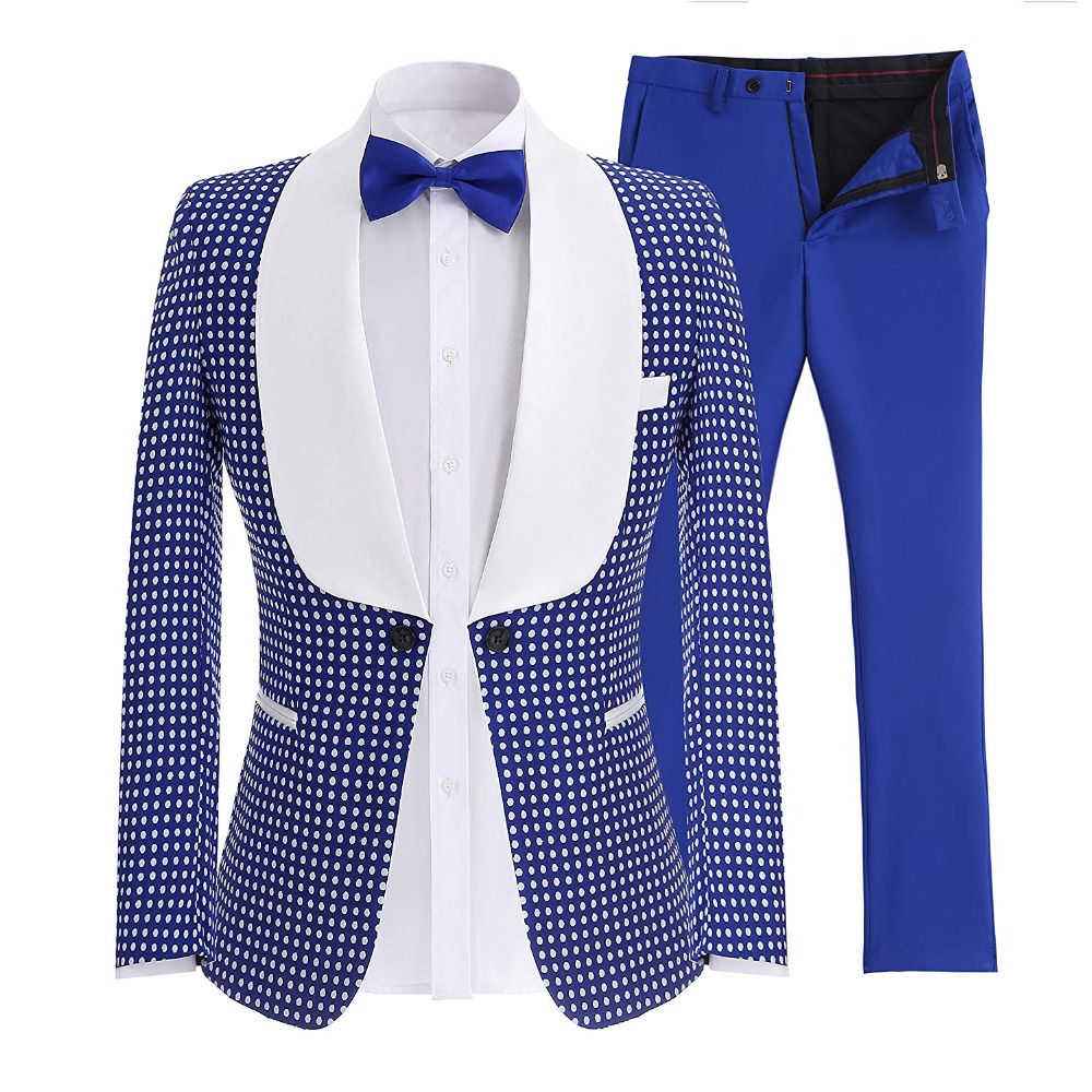 Mens Suits Shawl Collar 2 Pieces Slim Fit Royal Blue Black Suit Mens Groom Jacket Tuxedos For Wedding Evening(Blazer+Pants+Tie)