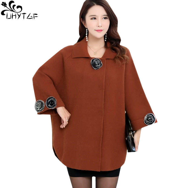 UHYTGF Korean Winter Woman Cashmere Coat 2018 Plus size Autumn Fashion Elegant Ladies Coats High quality