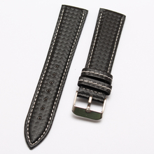 Correa de reloj 20 mm 22 mm nuevos Mens de la alta calidad de cuero de grano de fibra de carbono negro con costura venda de reloj