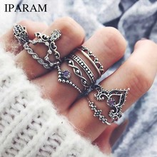 IPARAM Fashion 10Pcs/Set Bohemian Hollow Water Drop Pattern Vintage Crystal Beidou Seven Stars Fatima Hand Ring For Women gifts(China)