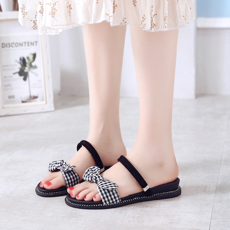 Summer Women <font><b>Sandals</b></font> 2019 new Fashion Women Shoes <font><b>Flat</b></font> Beach <font><b>Sandals</b></font> <font><b>Sexy</b></font> Women <font><b>Sandal</b></font> Bow-knot Ladies Shoes Sandalias image