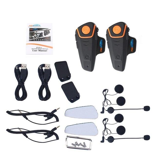 2 pcs BT-S2 Pro Motorcycle Wireless Bluetooth Intercom Headsets 1000m Motorbike Headsets BT Interphone with FM Waterproof IPX6 5