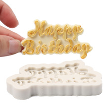 Silicone 3D Happy Birthday Letters Numers Mold For Ice Jelly Chocolate Cake Decorating Tool Mould