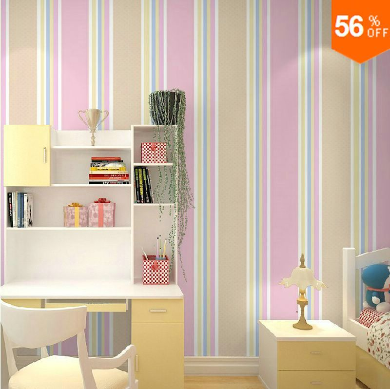 2018 New Kids Bedroom Wallpaper Child Girl Stripe Wall