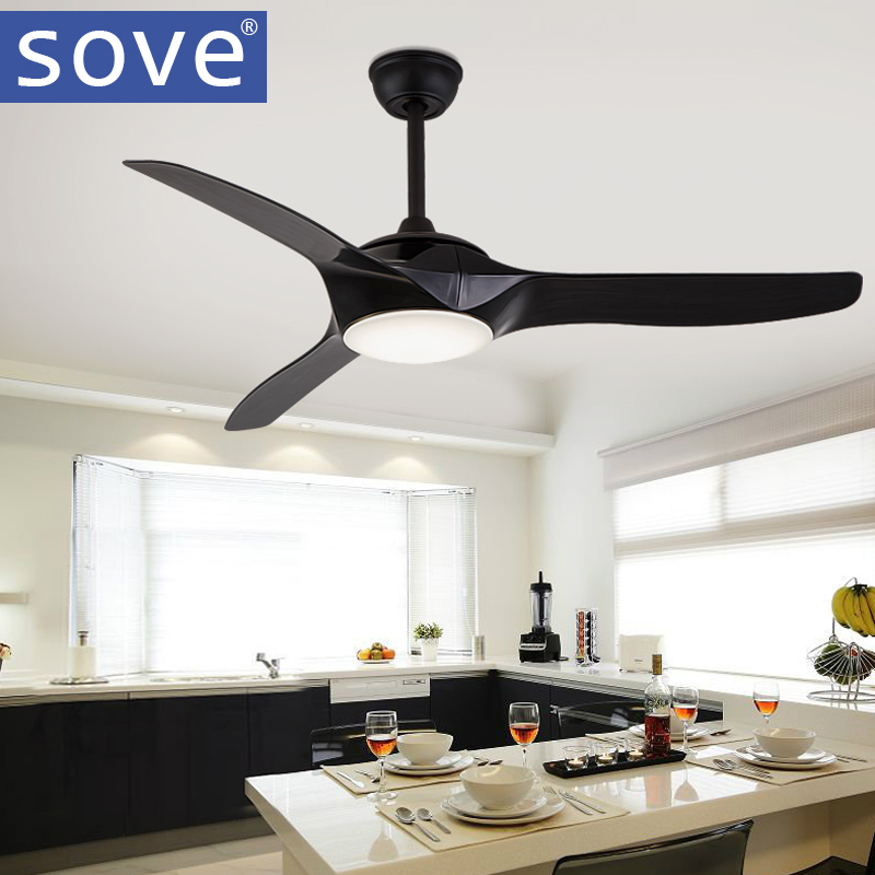 52 inch LED Brown White Black Ceiling Fans With Lights Remote Control living room bedroo ...