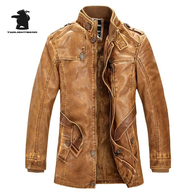 Winter New Men's Zipper Fur Leather Jacket Fashion Long Washed PU Motorcycle Jacket Men Plus Size Leather Coat Pull Homme C8F4G2