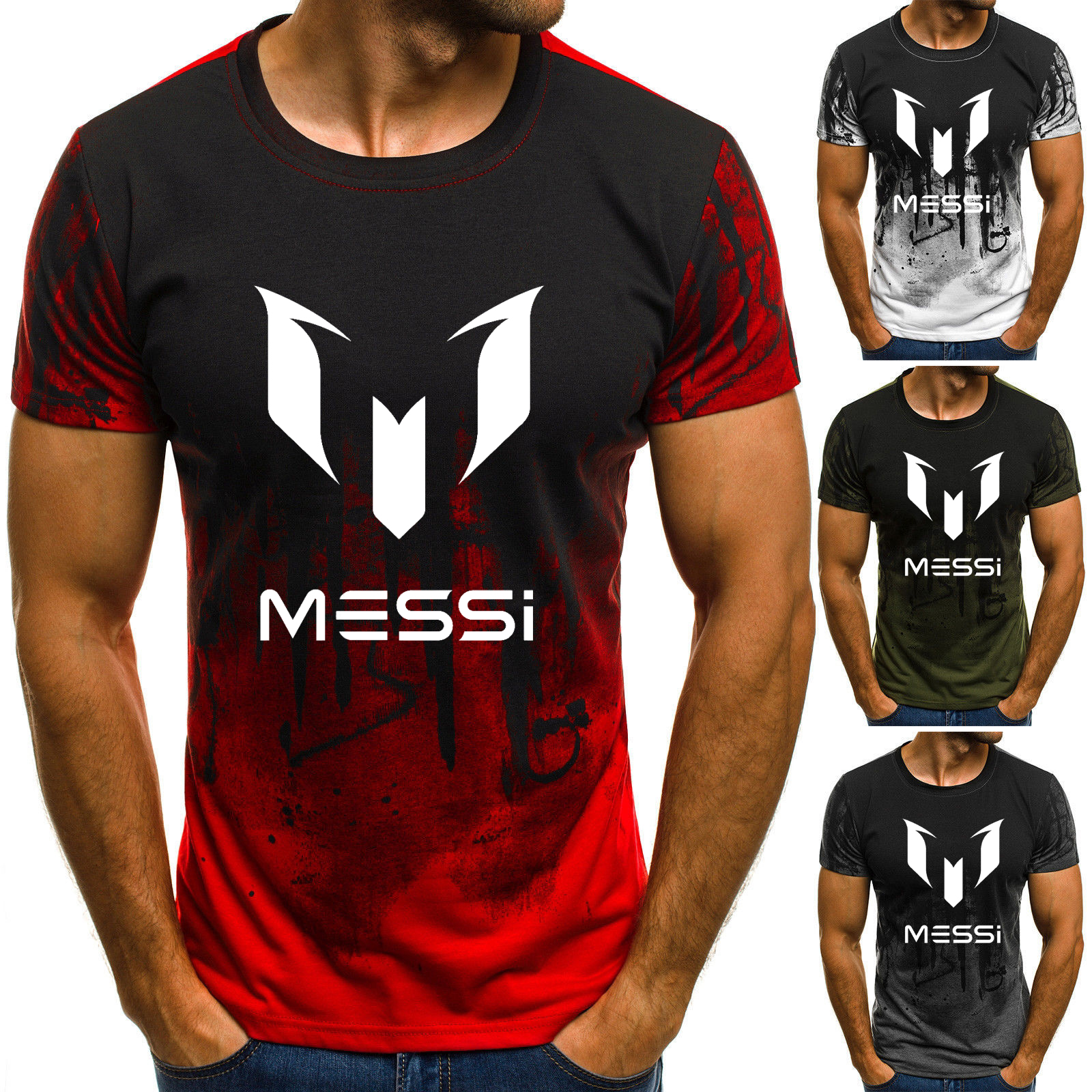 2019 Summer Man's Barcelona MESSI   T     Shirts   Camouflage O-neck Fashion Printed Hip-Hop Tee Camisetas Men Clothing Casual Top
