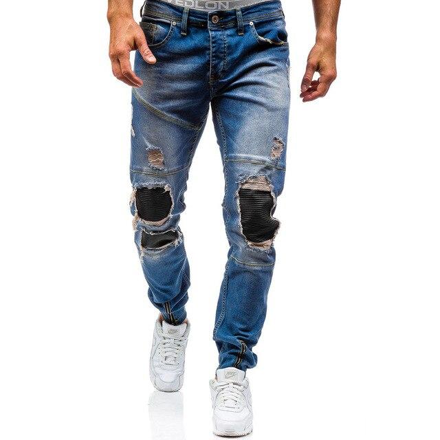 Мужские чистого хлопка бутик рваные джинсы мужские Штаны мужские джинсы с отверстием