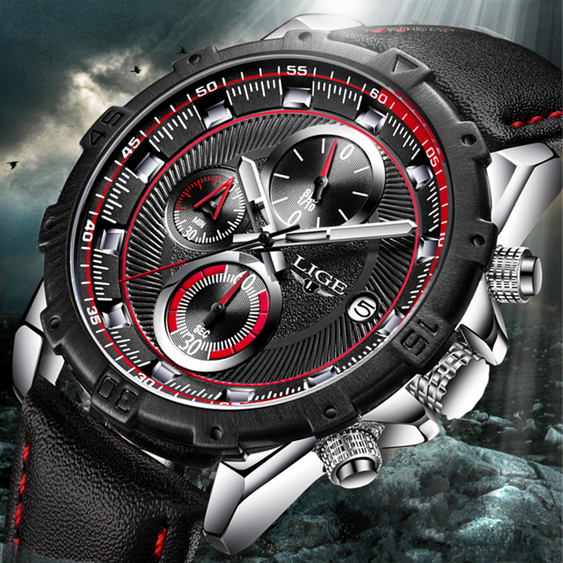 LIGE Waterproof Mens Watches Top Brand Luxury Business Quartz Watch Men Casual Large Dial Clock Sports Watches Relogio Masculino
