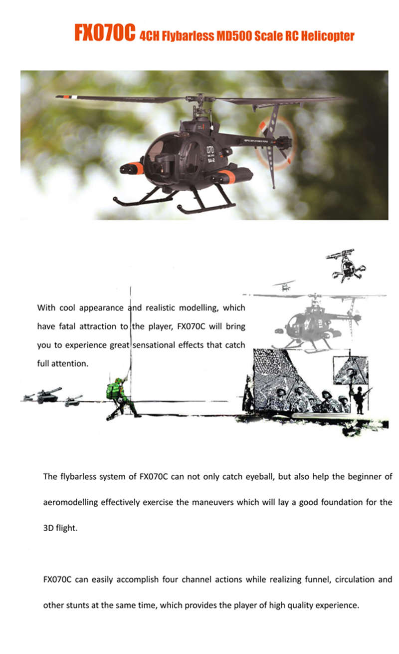 New Arrival FX070C 2 4G 4CH 6Axis Gyro Flybarless MD500 Scale RC Helicopter  With Remote Controller Children Gift Kid Toys Gift-in RC Helicopters from