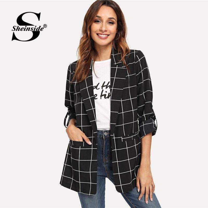 Sheinside Black Dual Pocket Classic Plaid Blazer Women 2019 Spring Casual Longline Open-breasted Blazers Minimalist Trim Blazers