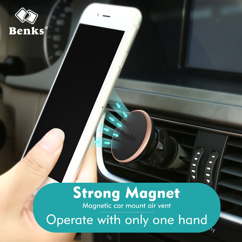 Benks Universal Magnetic Car <font><b>Phone</b></font> <font><b>Holder</b></font> 360 Degree Rotatable Car Air Vent Outlet Mount for iPhone Samsung Hauwei <font><b>Magnet</b></font> Stand