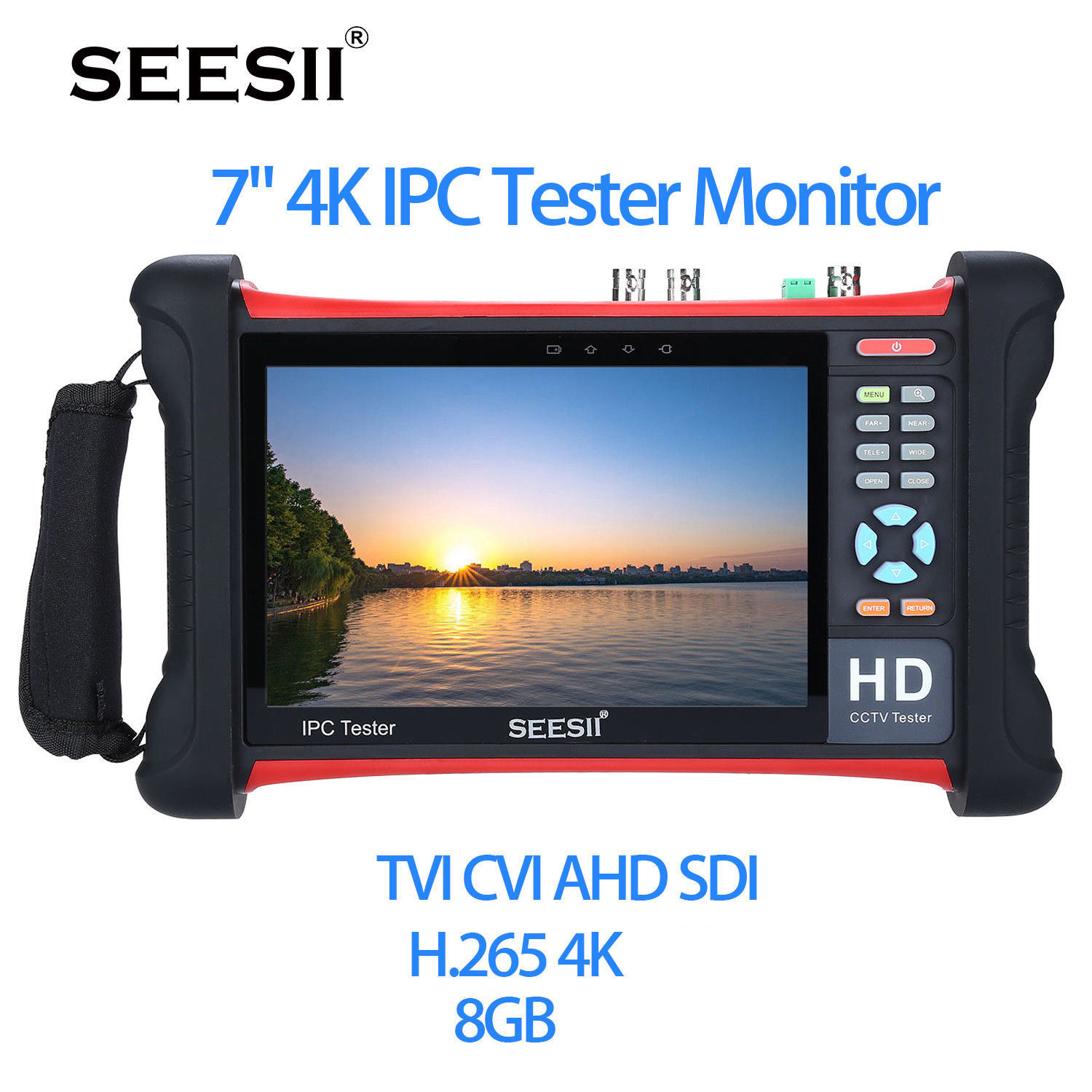 SEESII X7-ADHS4 7 Touch Screen 4K 1080P IPC Camera CCTV Retina Tester Monitor Wifi TVI CVI AHD SDI CVBS IP Discovery Analog ipc9300 ipc wifi ahd tvi cvi analog 4 3 touchscreen cctv tester for ip analog camera 1080p bnc network cable tester wifi 8gb