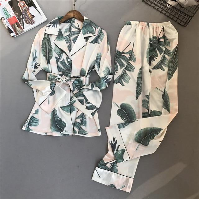 Spring New Long Section Fashion Women Pajama Set Rayon Sexy Pijama 2 Pcs  Printing Sleepwear