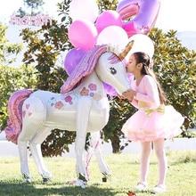 KUAWANLE 1pcs 106*116cm 3D DIY Rainbow Unicorn Foil Balloons Birthday Party Supplies Baby Cartoon Horse Anagram Balloon Toys
