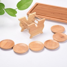 8pcs/set Tea Set Cup Coasters Kung Fu Tea Accessories Bamboo Round Cup Holder Square Cup Holders Waterproof Made Tea Accessories