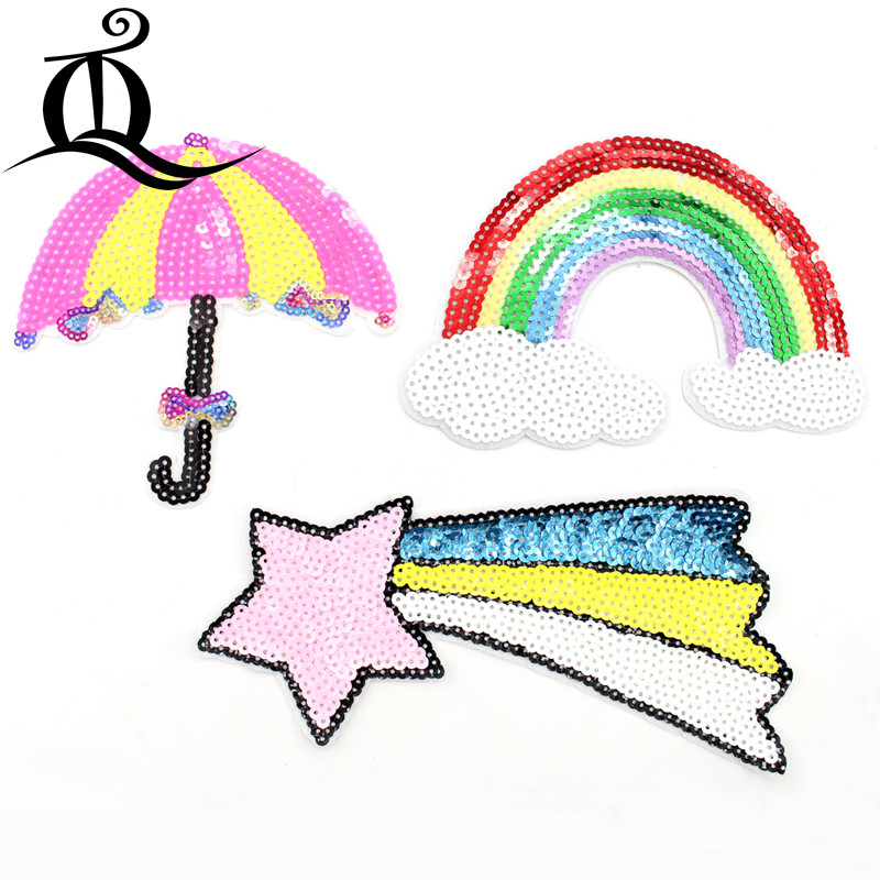 1pcs Sewing Clothes Sequins Rainbow horse Embroidery Patches Hotfix Applique Motifs Sew On cartoon fruit animal flowers Patch