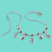 Fashion 925 sterling silver anklets cute The rabbit pendant Solid silver chain 27cm women's popular silver jewelry bithday gift
