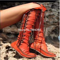 Spring Autumn Fashion Women Boots Knee High Flat Heels Sexy Booties Lace Up Round Toe Solid Color Rome Style Shoes Women